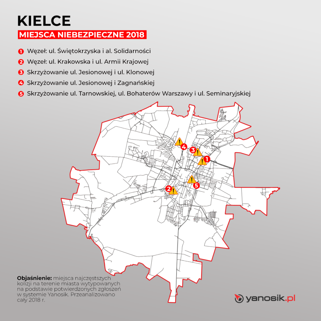 5_najbardziej_niebezpiecznych_miejsc_w_Kielcach_mapa